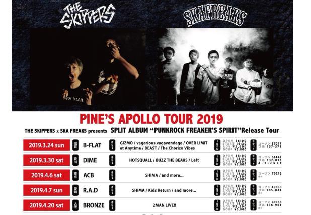 "THE SKIPPERS x SKA FREAKS ""PUNKROCK FREAKERS SPIRIT"" Release Tour 2019"
